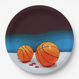 Basketball wedding with love red hearts on blue Na Paper Plate