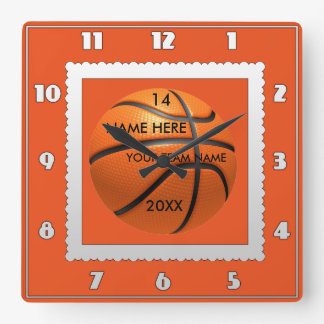 Basketball white and orange clock with Player Name