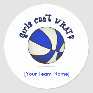 Basketball - White/Blue Classic Round Sticker