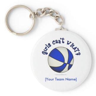Basketball - White/Blue Basic Round Button Keychain