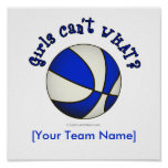 Basketball - White/Blue Poster