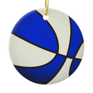Basketball - White/Blue Products Double-Sided Ceramic Round Christmas Ornament