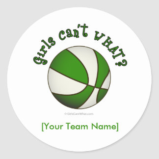 Basketball - White/Green Classic Round Sticker