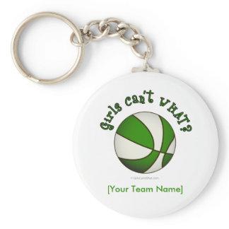 Basketball - White/Green Basic Round Button Keychain