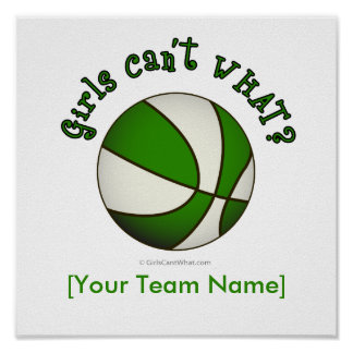 Basketball - White/Green Poster