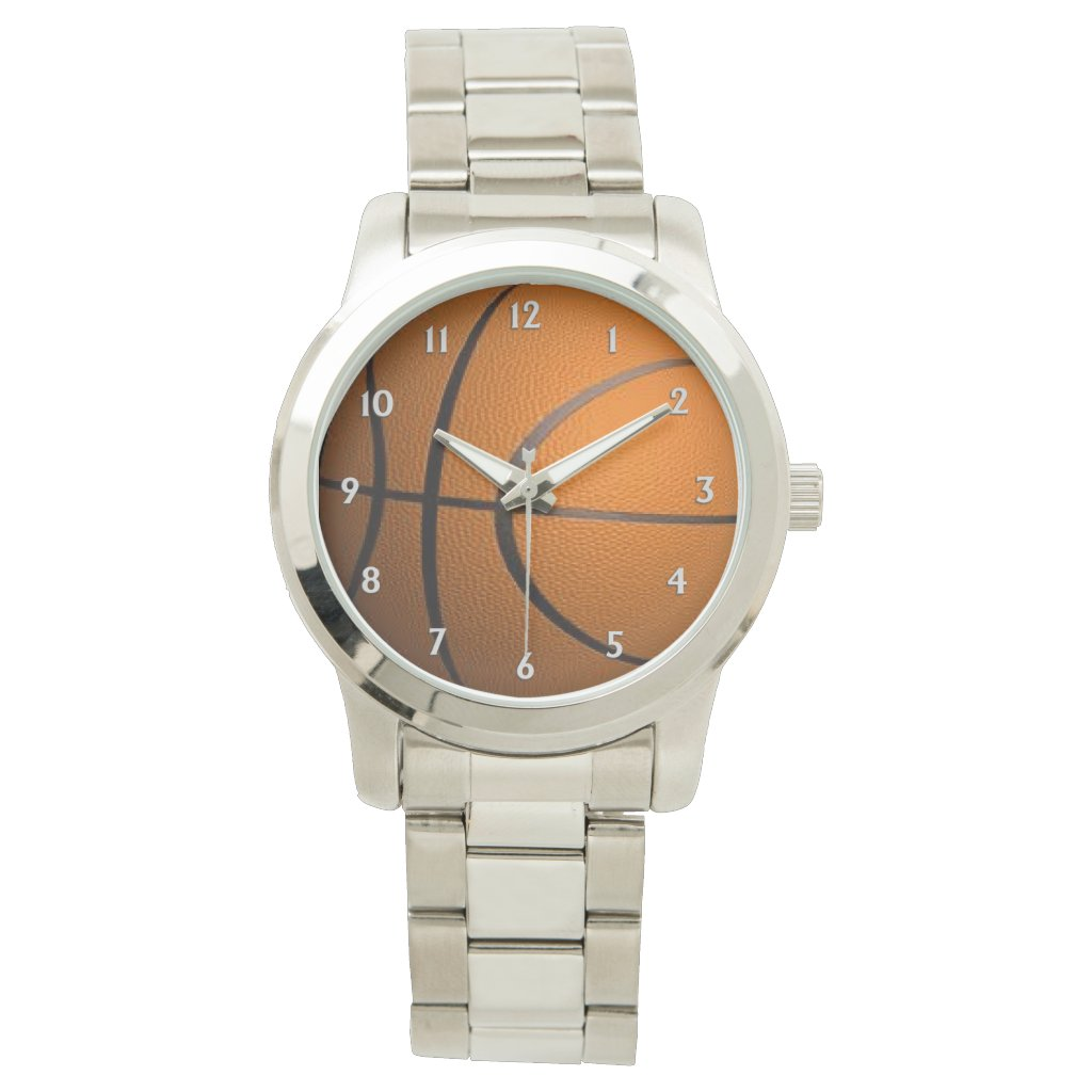 Basketball White Numbers Watch