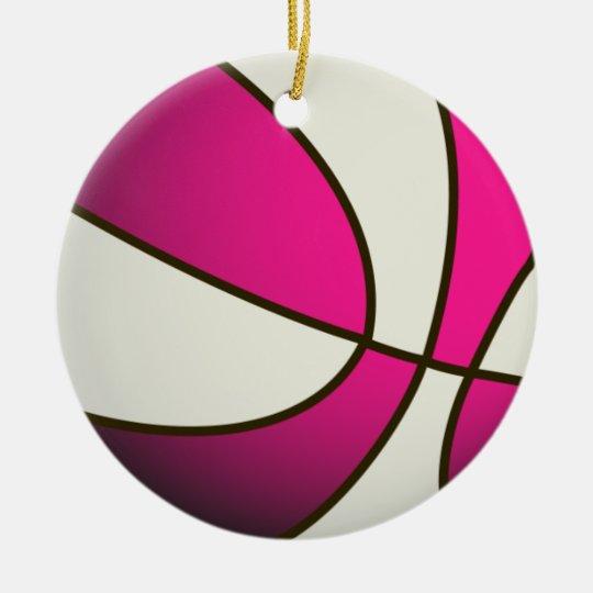 Basketball - White/Pink Ceramic Ornament