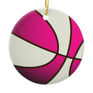 Basketball - White/Pink Double-Sided Ceramic Round Christmas Ornament