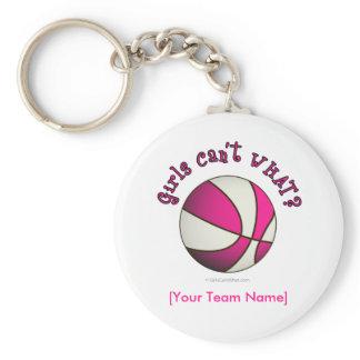Basketball - White/Pink Basic Round Button Keychain