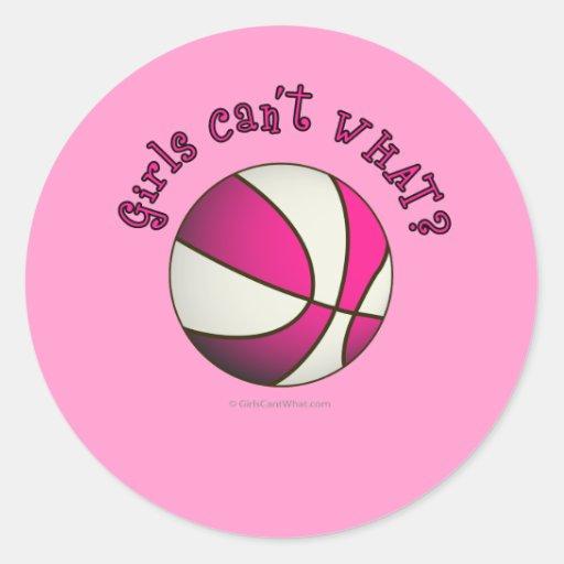 Basketball - White/Pink Round Sticker   Zazzle
