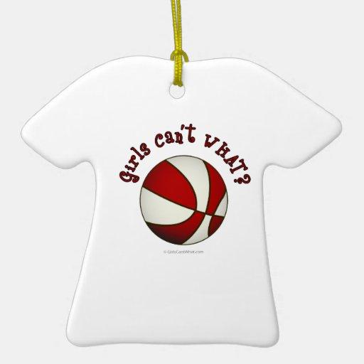 Basketball - White/Red Ceramic Ornament