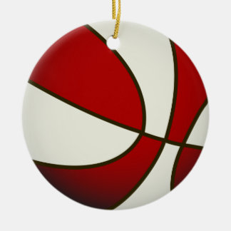 Basketball - White/Red Double-Sided Ceramic Round Christmas Ornament