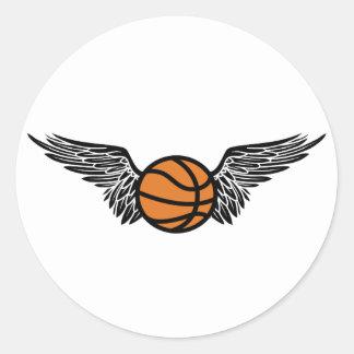 basketball. winged. classic round sticker