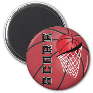 Basketball with a Net 2 Inch Round Magnet