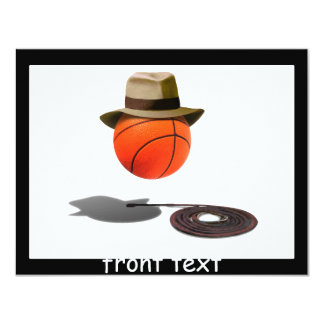 Basketball With Fedora and Whip 4.25x5.5 Paper Invitation Card