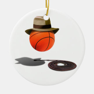 Basketball With Fedora and Whip Double-Sided Ceramic Round Christmas Ornament
