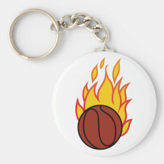 Basketball with Flames Basic Round Button Keychain