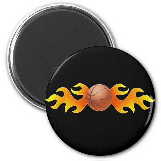 Basketball with Flames Fridge Magnet