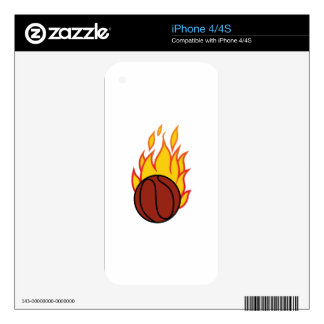 Basketball with Flames iPhone 4S Skins