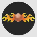 Basketball with Flames Round Sticker