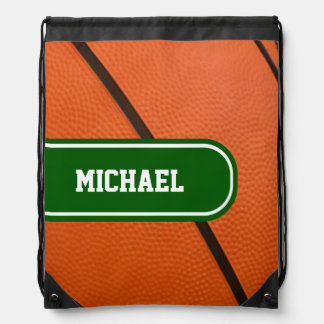 Basketball With Green and White Team Color Drawstring Bag