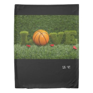 Basketball with love red hearts  be my valentine duvet cover