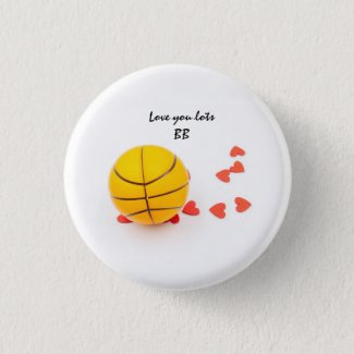 Basketball with love red hearts for Valentine Button