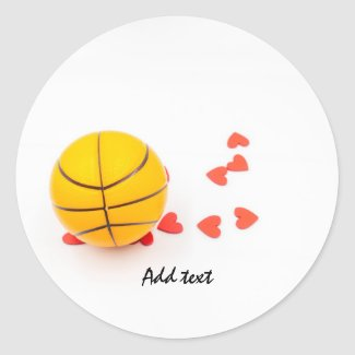 Basketball with love red hearts on white classic round sticker
