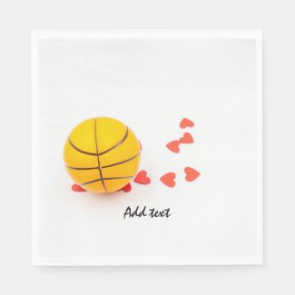 Basketball with love red hearts on white napkins