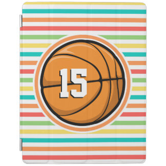 Basketball with Number; Bright Rainbow Stripes iPad Cover