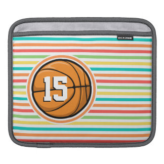 Basketball with Number; Bright Rainbow Stripes iPad Sleeve