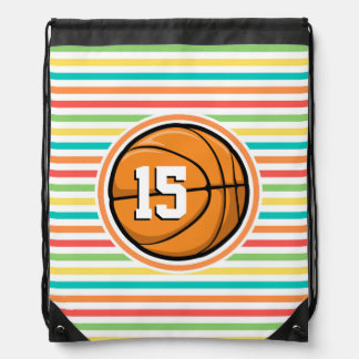 Basketball with Number; Bright Rainbow Stripes Backpacks