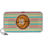 Basketball with Number; Bright Rainbow Stripes Mp3 Speaker