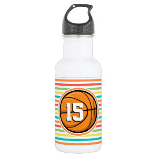 Basketball with Number; Bright Rainbow Stripes Stainless Steel Water Bottle