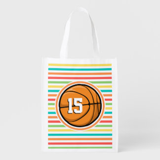 Basketball with Number; Bright Rainbow Stripes Market Tote