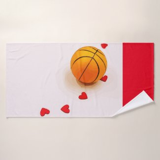 Basketball with red heart for love bath towel