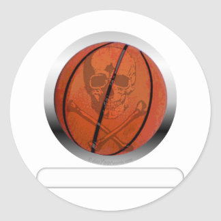 Basketball with Skull- Personalized Round Stickers