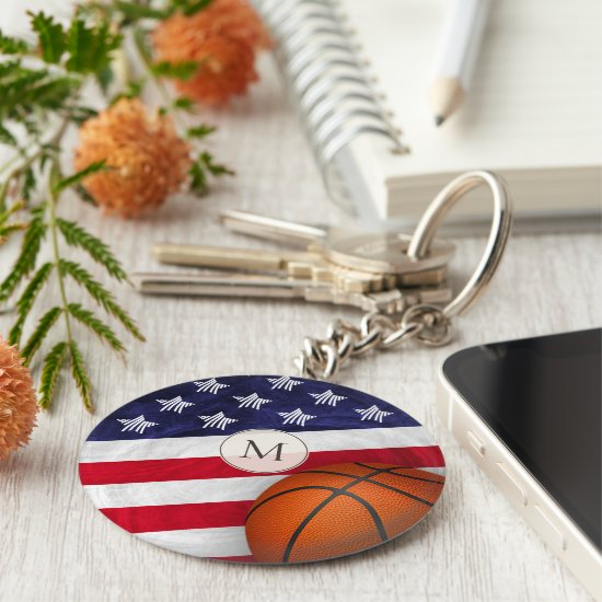 Basketball with stylized American flag monogrammed Keychain