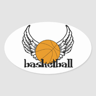 Basketball with Wings Oval Sticker