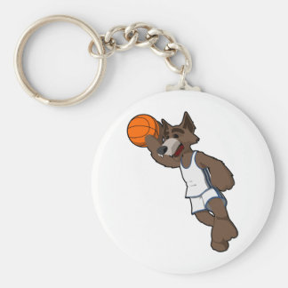 Basketball Wolf Basic Round Button Keychain