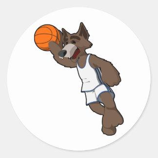 Basketball Wolf Classic Round Sticker