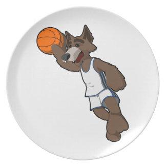 Basketball Wolf Melamine Plate