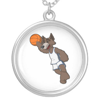 Basketball Wolf Round Pendant Necklace
