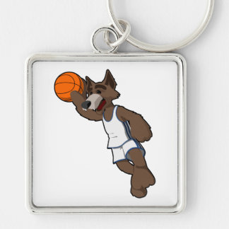 Basketball Wolf Silver-Colored Square Keychain