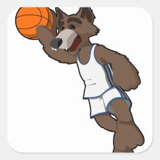 Basketball Wolf Square Sticker