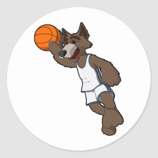 Basketball Wolf Round Sticker