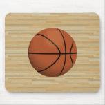 Basketball & Wood Court Background: Mousepad