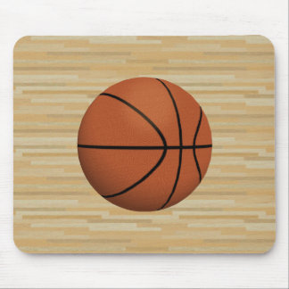 Basketball & Wood Court Background: Mousepad