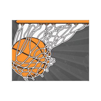 basketball woosh ball in net vector illustration canvas print