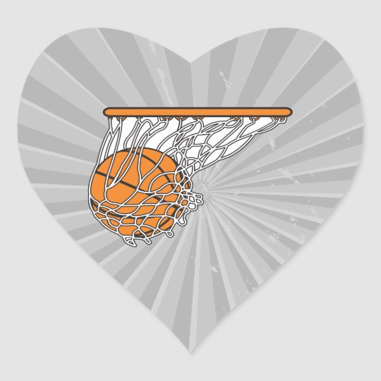 basketball woosh ball in net vector illustration heart sticker